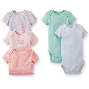 Baby Girl 5-pk Bodysuit Set Short Sleeve Pink Blue